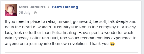 Testimonial Petra Healing retreat near Newmarket Suffolk