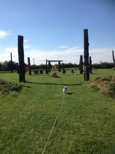 Burt entering Moonhenge in Peterborough