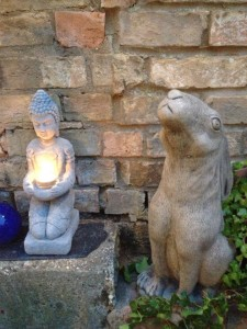 Moon hare in courtyard at Petra Healing in Suffolk